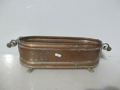 Vintage Copper Trough Tub Planter Plant Pot Antique Old Brass Ceramic Handle 20""