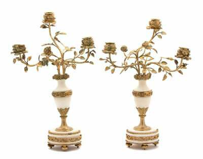 19th C. French Gilt Bronze Mounted Marble Candelabra Candlestick Pair Tole 17""