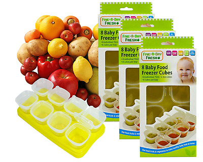 Baby Weaning Food Pots Freezer Tubs Stacking Tray Cubes Containers BPA Free for
