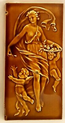 CRAVEN DUNNILL JACKFIELD TILE - classical maiden with cupids.
