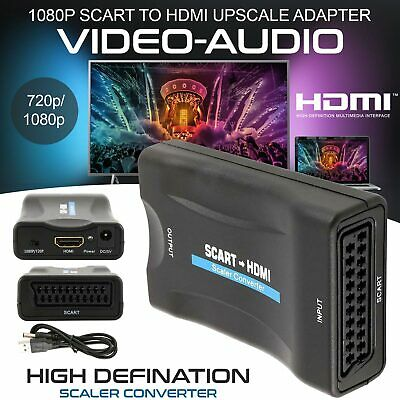 1080P SCART To HDMI Video Audio Upscale Converter Adapter HD TV DVD SkyBox
