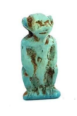 Unique Baboon Monkey Faience Egyptian Antiquities Amulet Beautiful Statuette