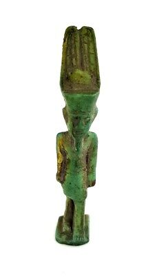 King Menes Statue Ancient Egyptian Antique Mena God Faience Small Sculpture RARE