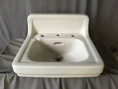 Vtg Mid Century  Ceramic White Porcelain Bath Wall Sink Old Standard 226-19E