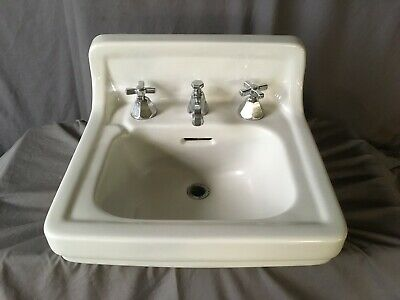 Vtg Mid Century  Ceramic White Porcelain Bath Wall Sink Old Standard 228-19E
