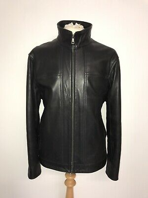 M&S Autograph - Mens BLACK REAL SOFT LEATHER JACKET - Size XL - GORGEOUS