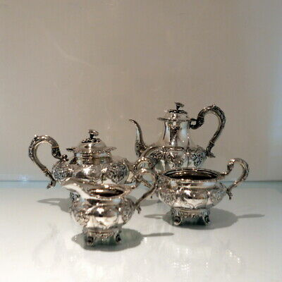19th Century Antique Victorian Sterling Silver Four Piece Irish Tea & Coffee Set