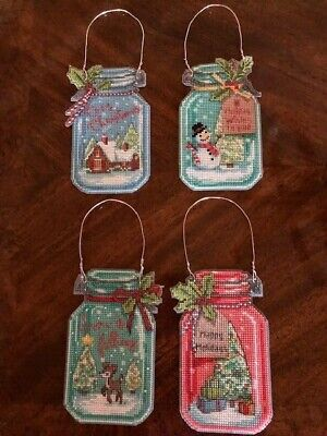 Christmas Jar Ornaments, COMPLETED,  plastic canvas Christmas