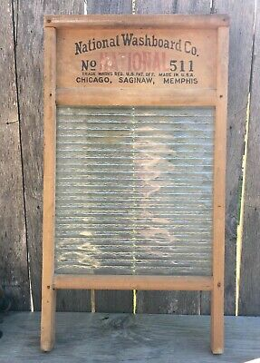 Antique Atlantic No. 511 National Washboard Co. w/ Glass FARMHOUSE Primitive
