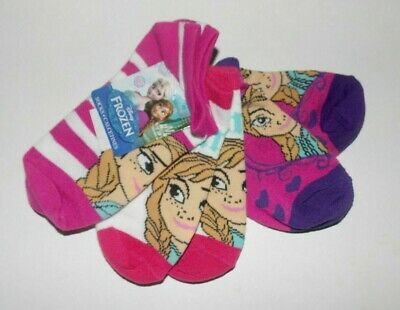 Disney Frozen 3 Pairs Girls Socks Elsa and Anna Red Purple Pink Size 6-8 NWT