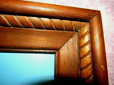 """Antique Arts & Craft Hand Carved Rope Boarder Solid Wood FRAME 19"""" x 17"""" OOAK"""