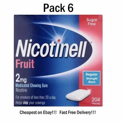 Nicotinell Gum Fruit 2mg  204 Pieces Pack of 6  Exp 03/2020