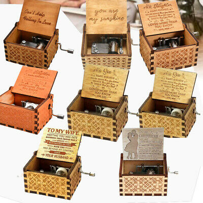 8 Type Retro Wooden Music Box Antique Hand Crank Engraved Toys Kid Birthday Gift
