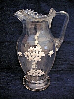 Stunning Victorian Hand Blown/enamel Painted clear Glass Jug / pitcher