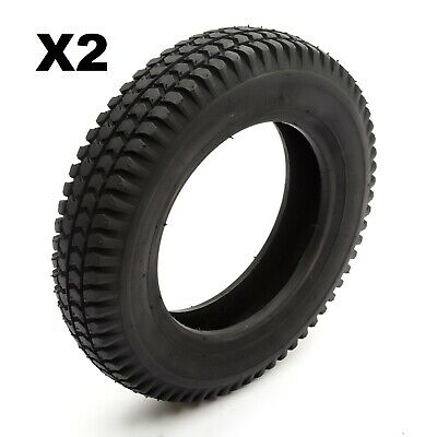 2 Tyre 3.00-8 Black Knobbly Block Tread Mobility Scooter 8 Inch Wheel Rim 4 Ply