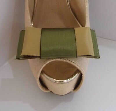 2 Gold & Olive Green Large Double Bow Clips for Shoes