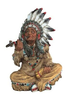 "10"" Inch American Indian Chief Statue Figure Western Figurine Warrior Indio"