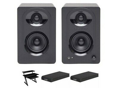 Samson Studio Monitors with Isolation Pads and Workstation Desk