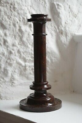Tall Antique Cornish Serpentine Candlestick with Red Marbling,Candle Holder