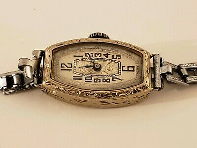Antique Working 1920's Helbros Fancy Art Deco 14K Belais White Gold Ladies Watch