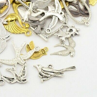 40g Metal Alloy Steampunk Birds Charms Mixed Colour Pendants (G11)