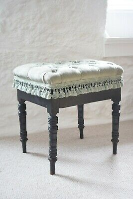James Shoolbred & Co Piano Stool Ebonised Upholstered with Hinged Compartment