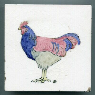 "Hand painted 6""sq decorative tile by KM Shuffrey for Ymagynatyf Pottery, 1924"