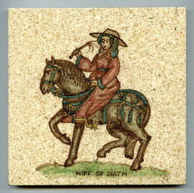 "Hand painted 5""sq  tile, Canterbury Pilgrim series by Packard & Ord, c1946"