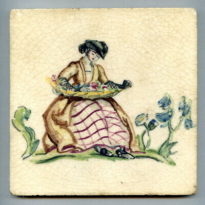 "Hand painted 6""sq  tile, Queen Anne series signed by Sylvia Packard, c1935"