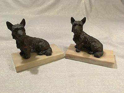Vintage Scottish Terriers Cast Iron & Marble Bookends Scottie Scotty Dogs