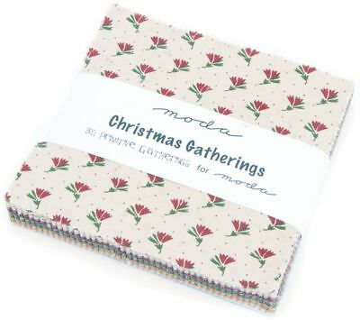 "Christmas Gatherings Moda Charm Pack 42 100% Cotton Fabric 5"" Quilt Squares"