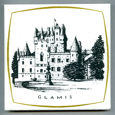 "Screen printed 6""sq tile, the Scottish Castles series by Dovecot Studios 1964"