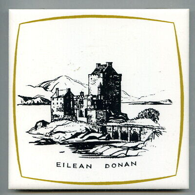 "Screen printed 6""sq tile, the Scottish Castles series by Dovecot Studios 1967"