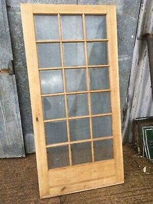 """39""""x79 7/8"""" Reclaimed Old Stripped Pine Glazed Internal French Door"""