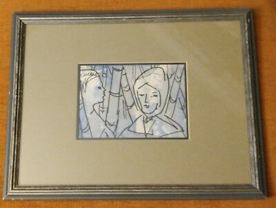 """Authentic Original PASCAL CUCARO Watercolor Painting Signed & Framed 13"""" X 10"""""""