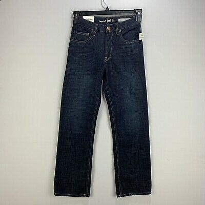 New GAP KIDS BOYS 1969 ORIGINAL Blue Jeans Straight Leg Opening Sz 12 Regular