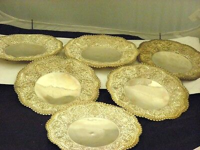 """Set of 6 Sterling Silver Footed Detailed Bread Plates 7.10""""inch Diameter"""