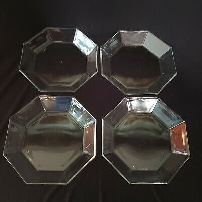 """Vintage Set of 4 Clear Octagon Salad Plate 8""""  Arcoroc France Hand Blown Glass"""
