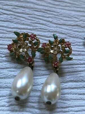 Estate Green & Pink Enamel Tiny Flowers with Faux Pearl Briolette Dangle Post Ea
