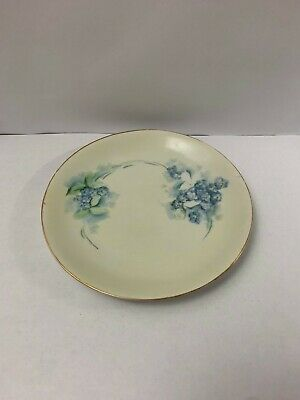 Vintage HUTSCHENREUTHER Cream White Plate Hand Painted Blue Flowers Porcelain