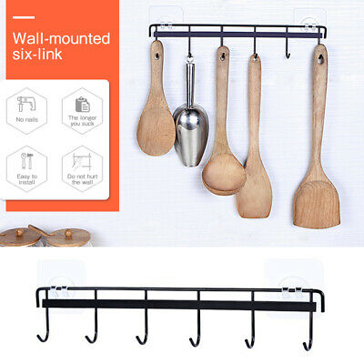 Kitchen Rail with 6 Hooks | NO DRILLING Wall Mounted Hanging Utensil Holder Rack