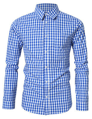 Men's Oktoberfest Plaid Long Sleeve Slim Button Shirt German Bavarian Costumes
