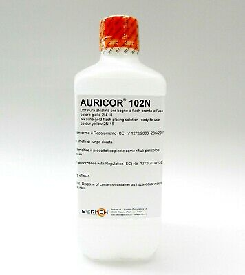 18K Yellow Gold Plating Solution AURICOR 102N 18 Karat Electroplating Made Italy