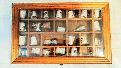 Vintage Thimble Hand Sewing Finger Protector Porcelain, Metal Lot of 24 +Display