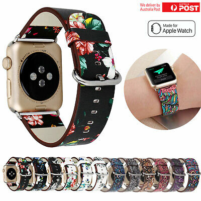 For Apple Watch Band Series 5 4 3 2 Floral Leather iWatch Strap Wristbands Band