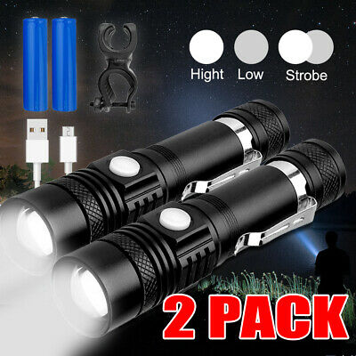 60000Lm L2 Led Shadwhak Usb Bike Flashlight Rechargeable Tactical Torch Battery