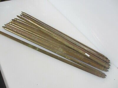 """Antique Brass Stair Rods Step Architectural Victorian Pellet Ends Old x12 -26"""""""