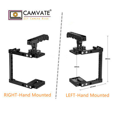 CAMVATE Aluminum Camera Cage Kit Top Handle & Shoe Left/Right Mounted for Canon