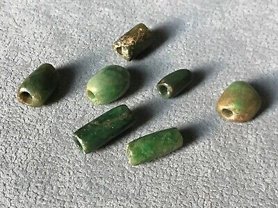 Precolumbian lot 7 carved green stone beads