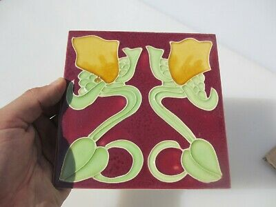 Ceramic Tile Vintage Floral Flower Art Nouveau Flowers Floral Old Retro - Modern